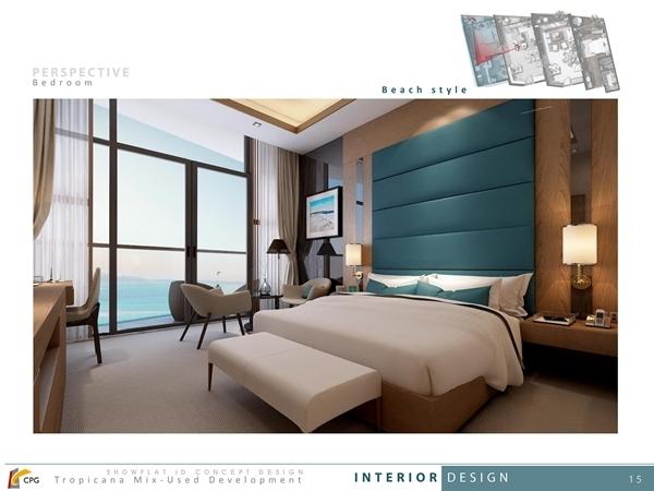 Phong cách thiết kế biển xanh (Beach Style) của Tập đoàn CPG dành cho căn hộ du lịch Beau Rivage Nha Trang